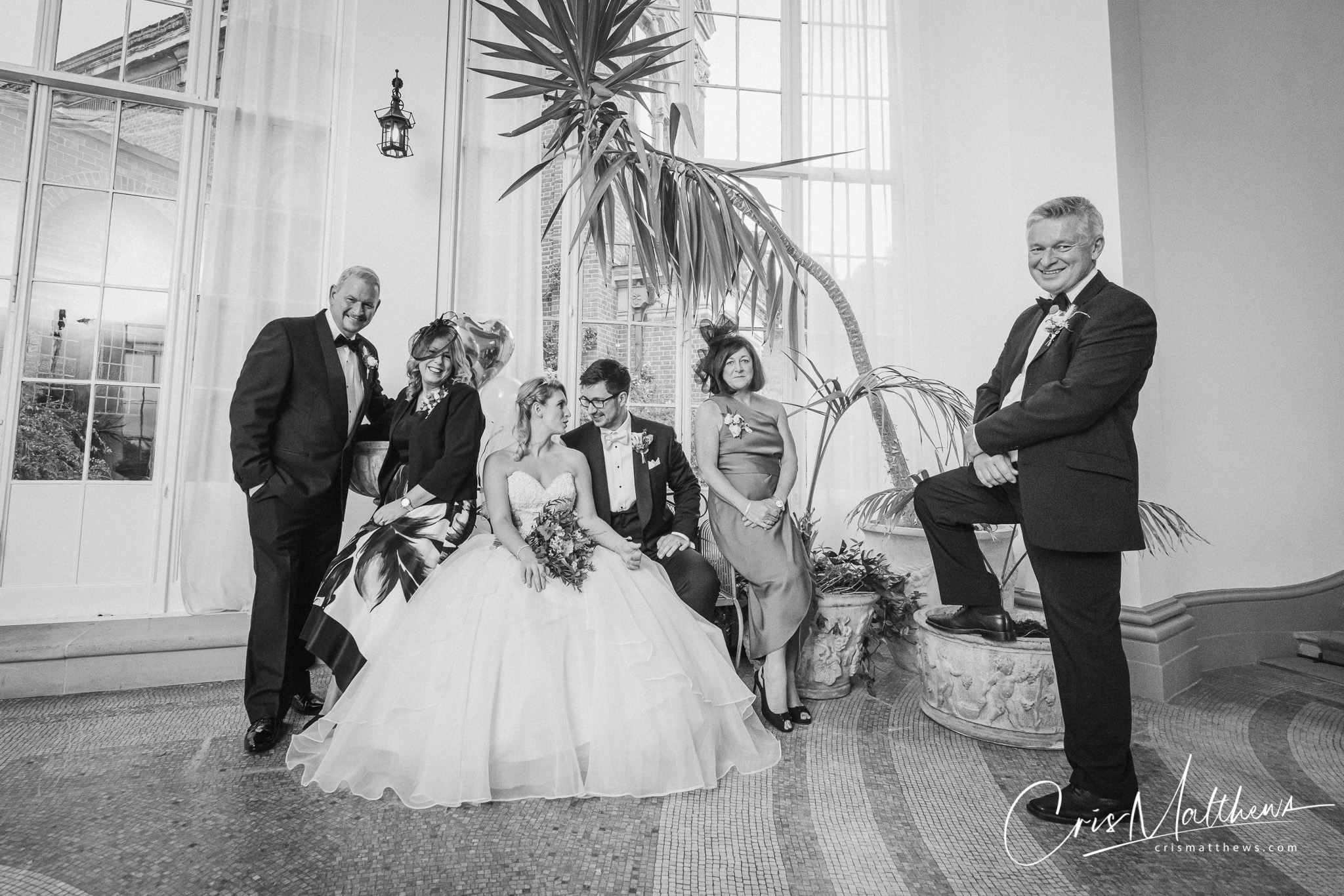 Relaxed Family Portrait at Hawkstone Hall Wedding Photography