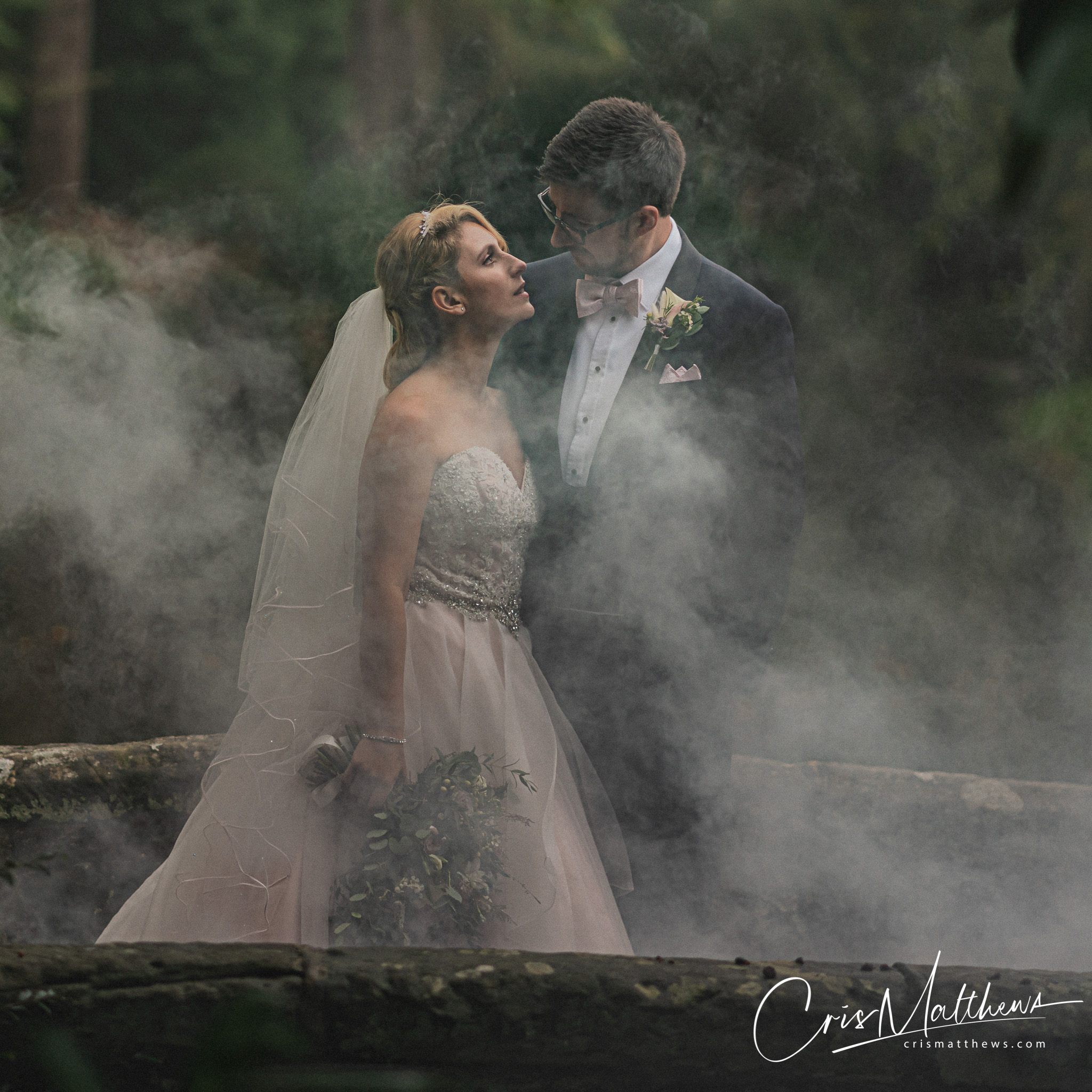 Smokebomb at Hawkstone Hall Wedding Photography